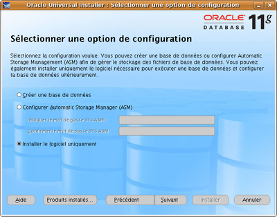 Installation d'Oracle : étape 6